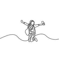 Continuous line happy student girl jumping first vector