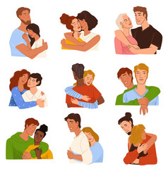 couples and friends hugging people in love vector image
