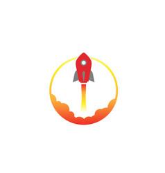 Creative red rocket circle logo vector