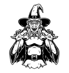 creepy witch wearing hat and cape vector image