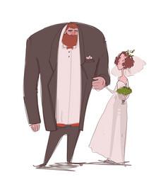 cute cartoon romance couple - bride and groom vector image