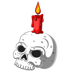 cute skull candle holder isolated on white vector image