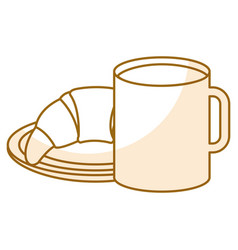 Delicious croissant with coffee cup vector