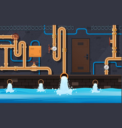 drainage pipes system industrial heating system vector image