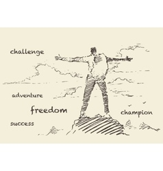 Drawn successful climber mountain sketch vector