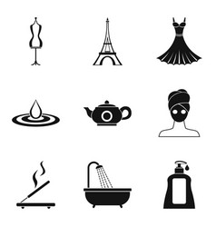 Fashion week icons set simple style vector