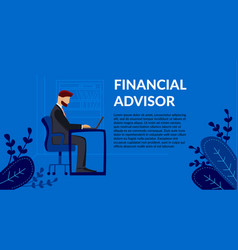 Flat banner financial advisor businessman vector