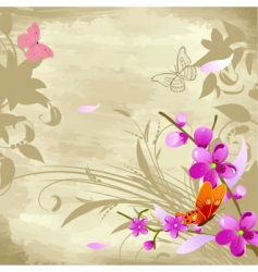 floral watercolor background with cherries vector image