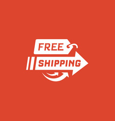 free shipping on red background vector image