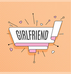 Girlfriend retro design element in pop art style vector