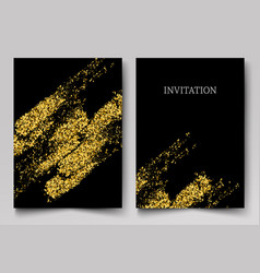 gold texture drawn brush stroke design vector image