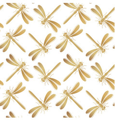 golden dragonfly seamless pattern vector image vector image