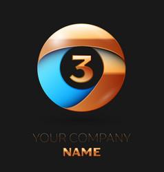 golden number three logo in golden-blue circle vector image