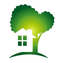 Green house and tree vector image