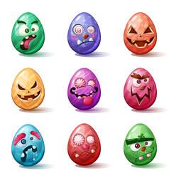 Happy easter cartoon set egg icon vector