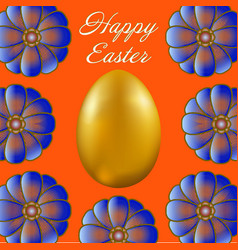 happy easter isolated on orange background vector image