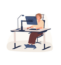 happy female office worker sitting on chair at vector image