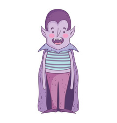 Happy halloween celebration boy dracula with cape vector