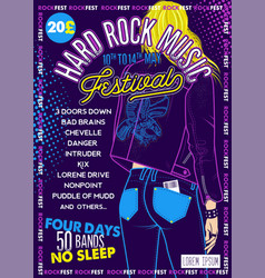 Hard rock festival poster with girl vector