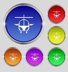 Helicopter icon sign Round symbol on bright vector
