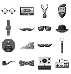 Hipster items icons set monochrome vector