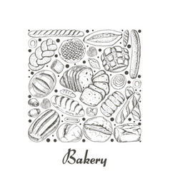 Isolated square of bakery products vector