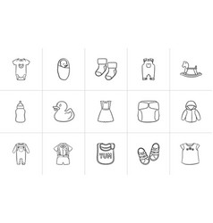Kids hand drawn sketch icon set vector