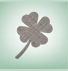 Leaf clover sign brown flax icon on green vector
