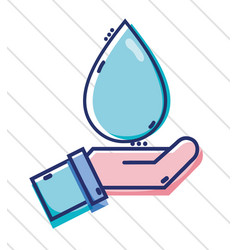linear business man hand with water drop vector image