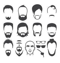 man face set vector image