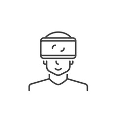 man with vr glasses concept icon in outline vector image