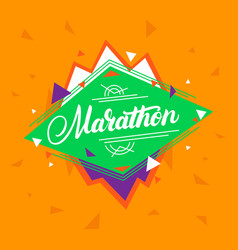 marathon hand written lettering on geometric vector image