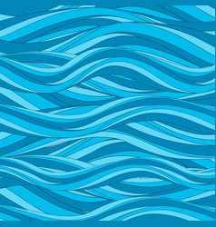 marine pattern with stylized blue waves in vintage vector image