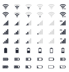 mobile interace icons battery charge wi-fi vector image