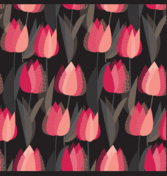 modern abstract red tulip flowers pattern vector image