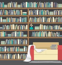 Modern Sofa With Huge Bookshelf vector