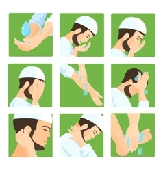 Muslim ablution purification guide step step vector