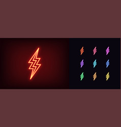 neon lightning icon glowing neon thunderbolt sign vector image