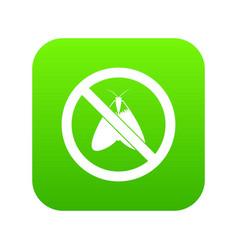No moth sign icon digital green vector