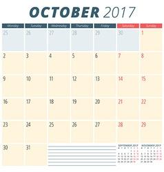 October 2017 Calendar Planner for 2017 Year Week vector