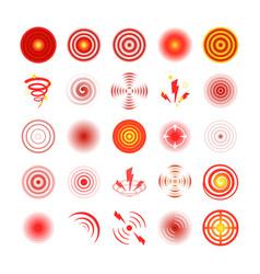 pain red circles set symbol painkiller pain vector image