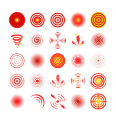 Pain red circles set symbol painkiller vector