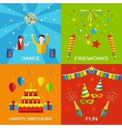 Party Dance Fireworks Happy Birthday concept vector