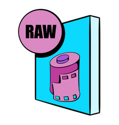 raw file icon cartoon vector image