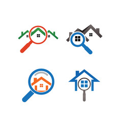 Real estate house finder logo template vector
