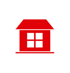 red silhouette simple facade house one room vector image