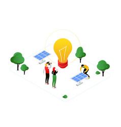 renewable energy - modern colorful isometric vector image