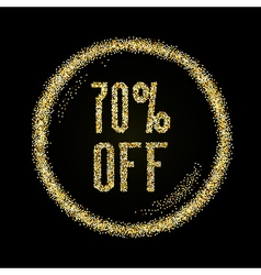 Sale 70 off discount type on Golden glitter vector