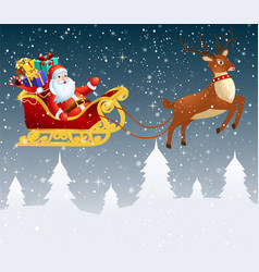 Santa claus in a sleigh with a bag full of gifts vector