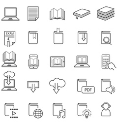 School Online E-Learning E-Book Book Line Icons vector image